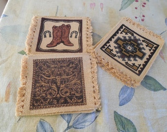 Three different sets of fabric blocks your creation or mug rugs. set of 4 blocks for 9.00