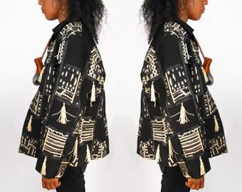 Tribal Jacket/ Fringe Jacket/ Fringe Coat/ Cropped Blazer/ African Jacket/ African Coat/ Ethnic Jacket/ Afropunk/ Bohemian Jacket/ Ankara