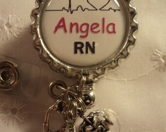 Personalized nurse badge reel with charms