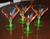 "4 WATERMELON MARTINI Goblets 5"" Pink Optic Green Stem Base MCDONALD Glass Works Depression Sherbet Champagne Glass Spool Stem Set Excellent"