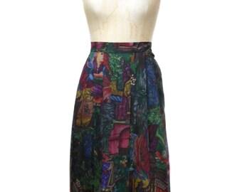 vintage 1980s renaissance novelty print skirt / Geiger collection / wool / forrest / art artsy / women's vintage skirt / size 34