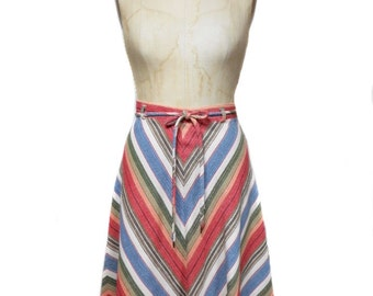 vintage 1970s chevron skirt / rough spun cotton / rainbow chevron / belted skirt / a-line skirt / women's vintage skirt / size medium