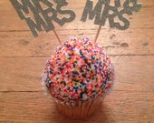 Mr & Mrs Cupcake Toppers -- Bridal Shower / Wedding Decorations / Wedding Cake Topper