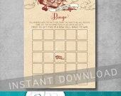 Bingo Card Game - Vintage Airplane Baby Shower - Red Plane - Airplane Baby Bingo Card - Digital - 5x7 - DIY - Printable - INSTANT DOWNLOAD