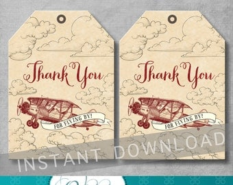Vintage Airplane Favor Tags - Airplane Birthday Party - Vintage Birthday - Thank You Tags - Gift Tag - Digital Printable - INSTANT DOWNOAD