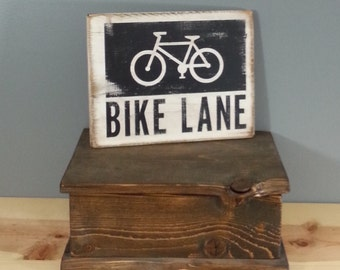 BIKE LANE -  rustic wooden hand painted sign.