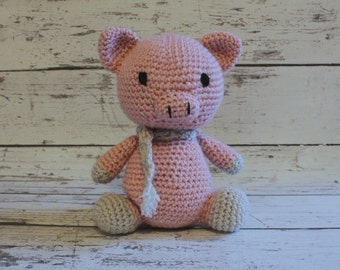 Bacon the Pig, Crochet Pig Stuffed Animal, Pink Piglet Amigurumi, Plush Animal, MADE TO ORDER