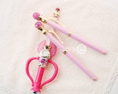 Japan Comic amine Sailor Moon Crystal Power Transfiguration fountain pen pink gem Chibi Moon Moonlight Memory セーラームーン