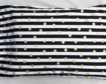 Gold Polka Dot Pillowcase, Free Shipping, Baby Toddler Bedding, Standard Size, Ready to Ship, Modern Black and White Stripe Metallic Nursery