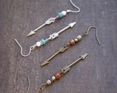 Little Arrow Earrings Arrowhead Earrings Silver Arrow Jewelry Native American Jewelry Tribal Style Earrings Earthy Arrow Earrings Archery