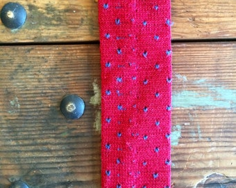 Red Blue Polka Dot Wool Knit Roosternit Square End Skinny Tie Vintage Mens Accessories