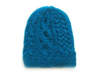Teal Beanie, Knit Beanie, Winter Hat
