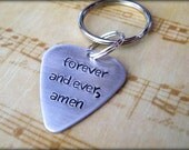 Forever And Ever, Amen Hand Stamped Key Chain Set, Gift for him, love, husband, Valentine's Day, Country Song, Randy Travis