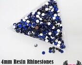 4mm 1000 pc Dark Blue Resin Rhinestones, SS16 4 mm Flatback Resin Rhinestones, DIY Deco Bling Rhinestones, USA Seller (RR15)