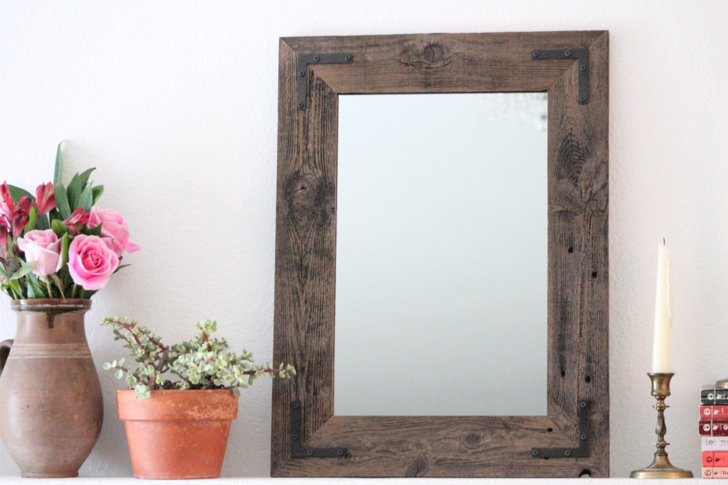 Luxury Bathroom Mirror Wood Mirror Distressed Mirror Weathered Reclaimed Wood