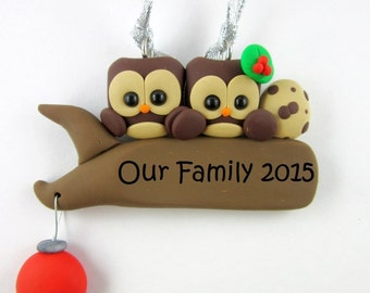 Expecting Owl Parents Christmas Ornament Polymer Clay