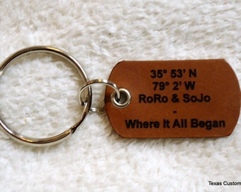 Personalized Leather Key Chain with Coordinates - Makes a Unique 3rd Anniversary Gift for Him or Her