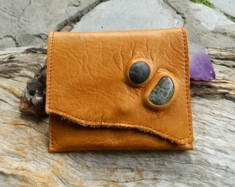 Unisex Leather Wallet Small Tan Leather Purse with Australian Gemstones Minimalist Card Wallet Coin Purse