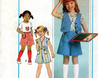 "1970s Girls' Pantskirt, Skorts, Top and Vest Pattern - Size 5 & 6 - Breast 24"", 25"" - Simplicity 8042"