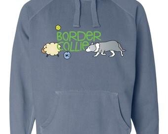 Border Collie Doodle Garment Dyed Hoodie Sweatshirt