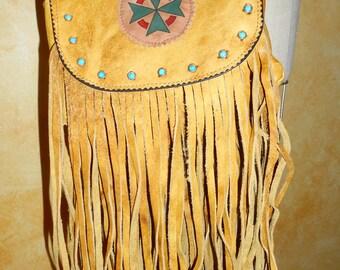 Vintage Fringed Leather Boho Indian Inspired  Purse