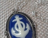 Nautical Blue and White Sailors Anchor Calchon in a Antique Silver Setting Pendant with a Medium Chain Link Necklace