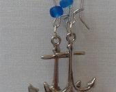Nauticle Jewelry Nauticle Anchor with Blue Frosted Beach Style Bead Dangle Earrings and Silver Kidney Ear Loop Jewelry