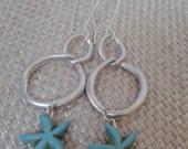 Beach Sea Nauticle Style Irregular Closed Link Chain with Aqua Starfish Charm Dangle Earring with Brushed Silver Kidney Loop Jewelry