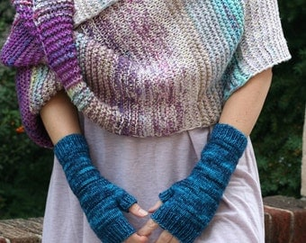 Electric Mitts ~ Womens Hand Knit 100% Merino Wool Fingerless Gloves Hand Warmers Bright Blue Deep Cobalt Winter Fashion Accessory