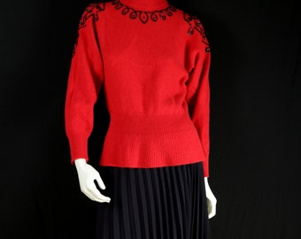 Red wool sweater 80s peplum sweater Pullover embroidered sweater Beaded Christmas sweater Mock turtleneck sweater Bohemian clothing XS S top
