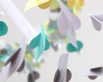 Nursery Ceiling Mobile Birds in Yellow Aqua Gray White Bird Mobile SMALL SIZE - Nursery Mobile, Baby Shower Gift, Photographer Prop