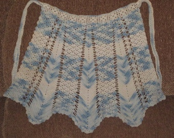 Vintage Blue and White Hand Crocheted Child's Size Apron