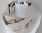 Organic Cotton Circle Scarf in Natural Tan // Textured Infinity Scarf