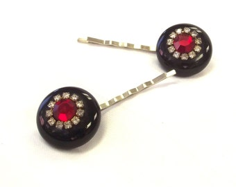 Vintage Jewelry Hair Pins - Red Rhinestone Bobby Pins - Retro Hari Accessory - Jewelry for Hair