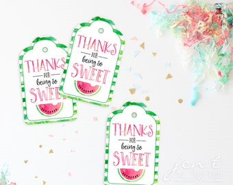 Watercolor Watermelon Favor Tags - Watermelon Party - Watermelon Birthday