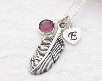 Sterling Silver Feathers Necklace, Feather medium Personalized birthstone and Initial On Sterling silver Italian Chain. Feather Charm. R-M
