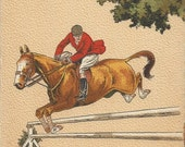 Over the Four Foot - Vintage 1940s Artist-signed Equestrian Jumping Horse Postcard