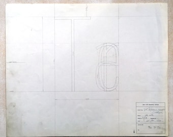 Ligature Te, Ta, Tr, industrial drawing, original font casting drawing, typographic drawing: 7pt Reference Cond. 1974.