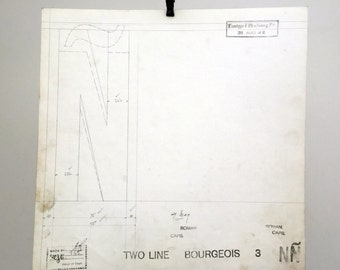 Letter bold capital N, industrial drawing, original font casting drawing, typographic drawing. 1911.