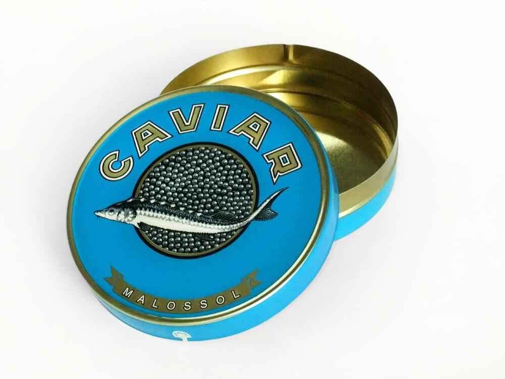 Rond en boite caviar russe sturgeon vide bleu bo te - Boite a the metal vide ...