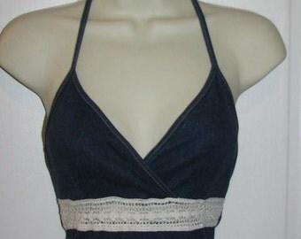 90's DENIM HALTER DRESS // Mini Playsuit Beach Romper Jean Sun Dress Size 5 Raver Festival Cut Out Lace Crochet Knit See Through Beads