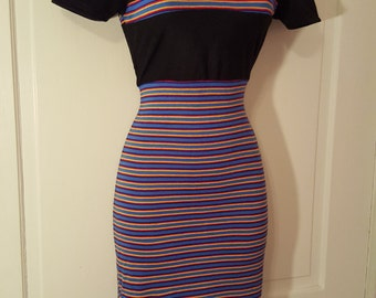 PRIMARY STRIPED DRESS // 70's Does 90's Rainbow Stripe Dress Mock Turtleneck Color Block Short Sleeve Fitted Bodycon