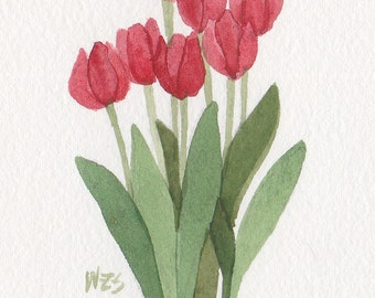 Red Tulips 5x7 Matted Original Watercolor  by Wandas's Watercolors