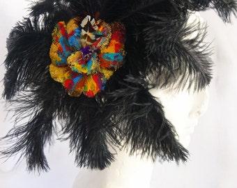 Black Ostrich feather, Flower Hair clip, 1920's headpiece, 20's hair, 20's hair clip, 20's feather clip, flapper hair clip, black feather