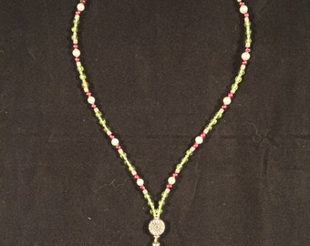 Necklace: Peridot with Fresh-Water Pearls
