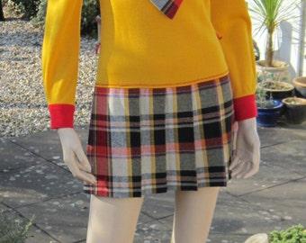 """Vintage 60s 70s micro mini dress, plaid pleated skirt Bust 32"""""""