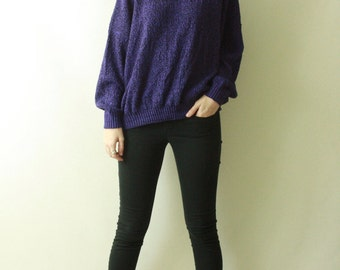 Vintage 1980's Purple Space Dyed oversized Slouchy BAGGY Soft Knit Jumper drop shoulder 80s Hipter Retro Club Kid Raver COZY Sweater
