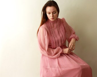 1960's 1970's Mauve Pink Chiffon Lace SHEER Full Sweep Dress / 70s BOHO Bohemian illusion Draped High Neckline Lace Collar Dress Prom Formal
