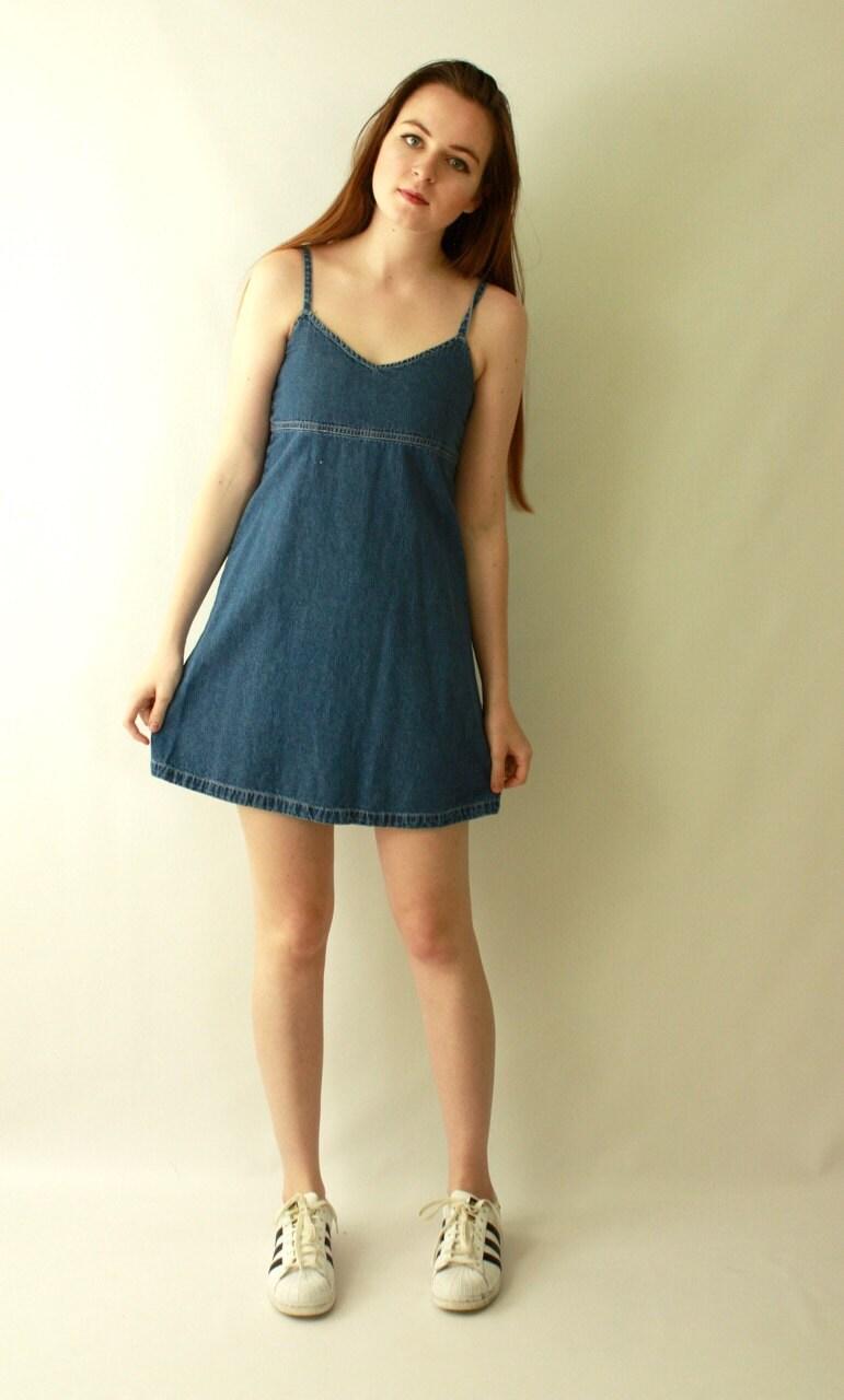Vintage 90 S Denim Fit Amp Flare Bodycon Micro Mini Dress