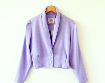 Lilac Cropped Vintage Jacket / 80s Cropped Pastel Blazer / Pastel 80s Jacket